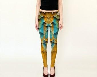Mustard Peel  Leggings Yoga/Pants/Womens/Teens/Ladies/Yoga/Fashion/Exercise/Wearable Art/Clothing/Clothes/XS S M L XL