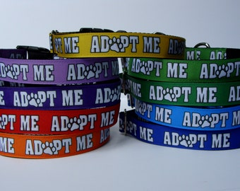 ADOPT ME Basic Adjustable Dog Collar, Ribbon Collar, Leash or Martingale, JDGC Exclusive Designed Ribbon by the yard with Paw Print