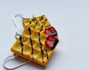 Earrings belgian waffle strawberry chocolate - Couleur-lavande polymer clay jewelry