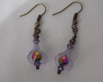 Earrings Purple Lucite Flower Crystal Earrings  E44