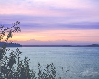 Summer Steilacoom Sunset Washington State Pacific Northwest Color Photography Print Puget Sound Water Purple Pink Blue