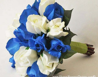 Blue and white roses bouquet, Cobalt / Royal blue, Real Touch silk flowers, Bride and Groom wedding set