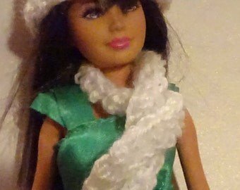 White Crocheted Hat and Scarf Set for 18 inch Barbie-style Doll (DC18)