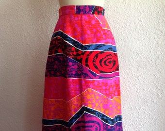 1960s Cotton barkcloth maxi skirt
