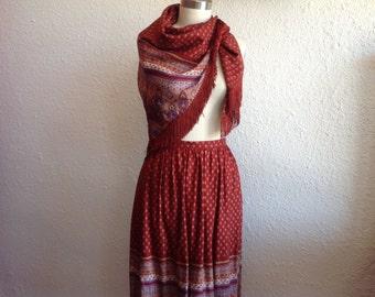 1970s Bohemian wool skirt with matching shawl