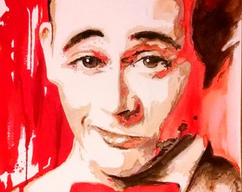 watercolor painting print Pee Wee Herman portrait, art print, eightys, 80s, classic comedy, Paul Reubens, tequila, pee wee's playhouse, cbc
