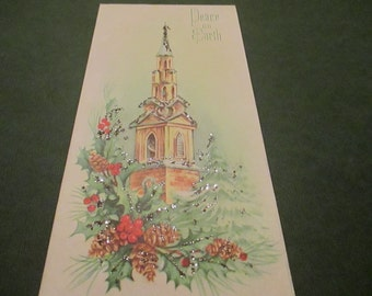 Vintage Unused Christmas card, Church scene, glitter card, parchment paper, 1950's, envelope, pristine, greeting card