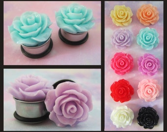 "Pastel Flower Burst EAR TUNNEL PLUG Earrings pick gauge and color - 2g, 0g 00g, 1/2"", 9/16"" aka 6mm, 8mm, 10mm, 12mm, 14mm"