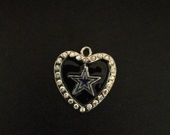Dallas Cowboy Heart Bling Charm Wide 25 MM/Legnth 26.5