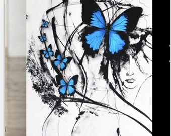 fabric silk blue butterfly man 3m