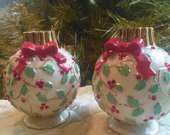 RARE Lenox Jeweled Christmas Ornament Figurine Set China Porcelain Gold Collectible