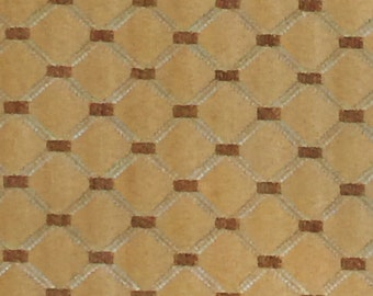 Tan Brown and Blue Diamond Trellis Pattern Upholstery Fabric Remnant by Kasmir
