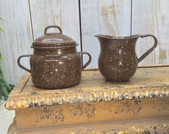 Cream and Sugar Set, Vintage Cream Sugar Set, Brown Creamer Enamel Kitchen Set, Brown Sugar Bowl, Cottage Chic Tea Set, Brown Enamel Speckle