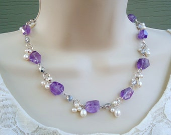 Amethyst Gemstone Strand Cluster Necklace.Beaded.White Freshwater Pearls.Silver.Statement.Bridal.Purple.Gold.Chunky.Gift.Choker.Handmade.