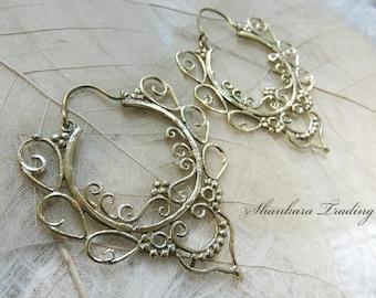 Tribal Brass Earrings, Hoop Earrings, Tribal Jewellery, Ethnic Earrings, Indian Brass Jewelry, Bohemian Earrings, Belly Dance