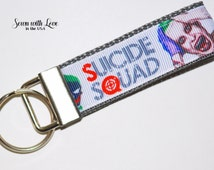 Suicide Squad Key Chain |  Key Fob | Super Hero | Captain America | Iron Man | Gifts Under 10 | Gifts For Him | Geek Gifts | Comics