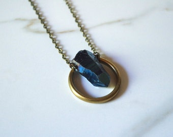 aura | raw quartz + brass necklace