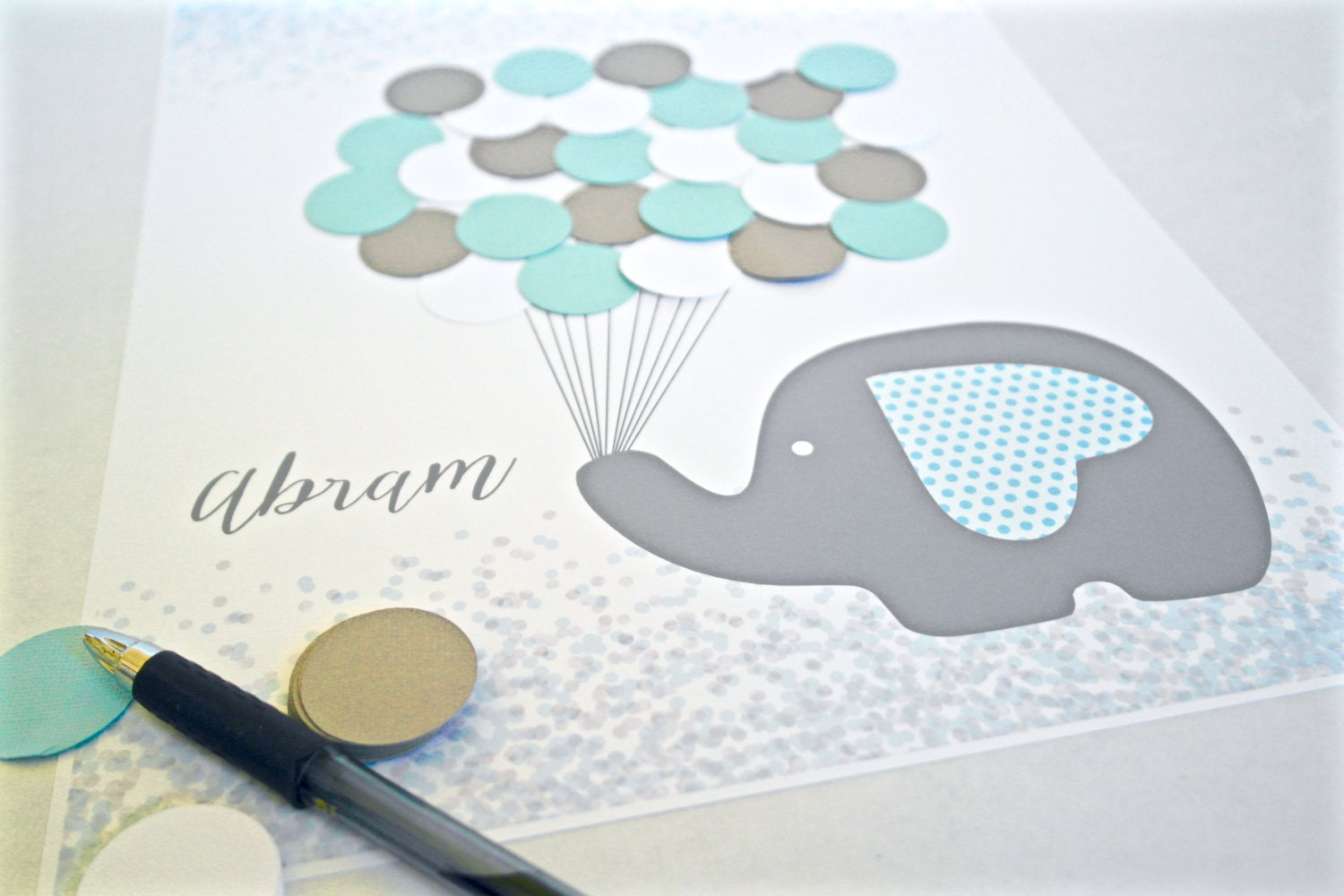 Blue And Grey Baby Shower Decorations, Blue Elephant Baby Shower Guestbook  Alternative, Baby Boy