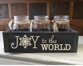 Joy to the World Mason Jar Planter Box - Carved Planter Box Mason Jar, Table Centerpiece, Rustic Home Decor, Christmas Decorations
