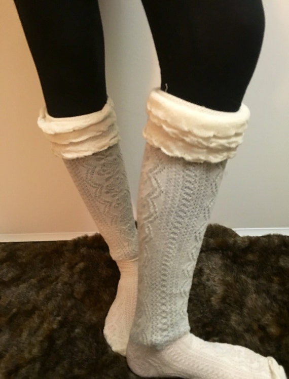 Knitting Women S Socks : Womens knitted boot socks knit cuffsboot by