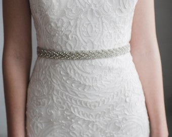 Silver Bridesmaid Belt | Crystal Bridal Sash  | Rhinestone Wedding Dress Sash Belt With Clasp | The DANI BELT