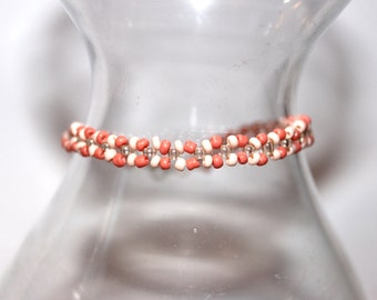 Pastel Beaded Bracelet - Orange/Peach - Comes with Gift Bag