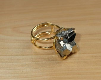 Pyrite Cube & Gold Adjustable Hoop Ring