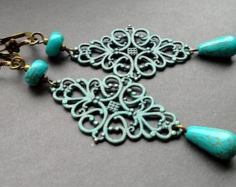 Long Turquoise Earrings Patina. earrings Antique Brass Patina. Earrings Dangle Boho earrings Jewelry Earrings stones. details Antique Brass
