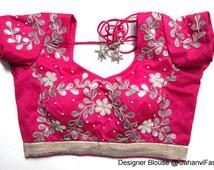 Handmade Gota Patti light work blouse on dupin - readymade gota patti blouse, gota patti work, Sari Blouse - Sari Top - For Women