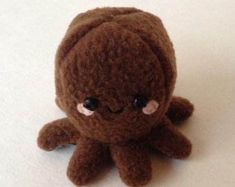 Adorable Fleece Mini-Octopus Plush - Brown