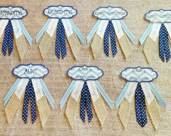 """Set of 7 Custom Colors Personalized Baby Shower Name Tag Corsage Pins - (See """"Item Details"""" to Customize)"""