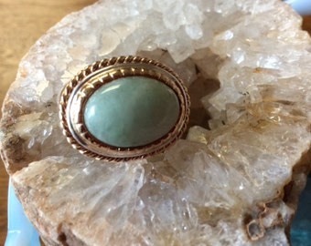 Silver and 14kt Gold Jade Ring East West Setting