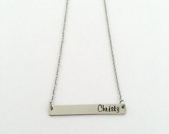 Hand stamped bar necklace, Hand stamped name necklace, Personalized necklace, Name necklace, Custom necklace, Stainless Steel necklace