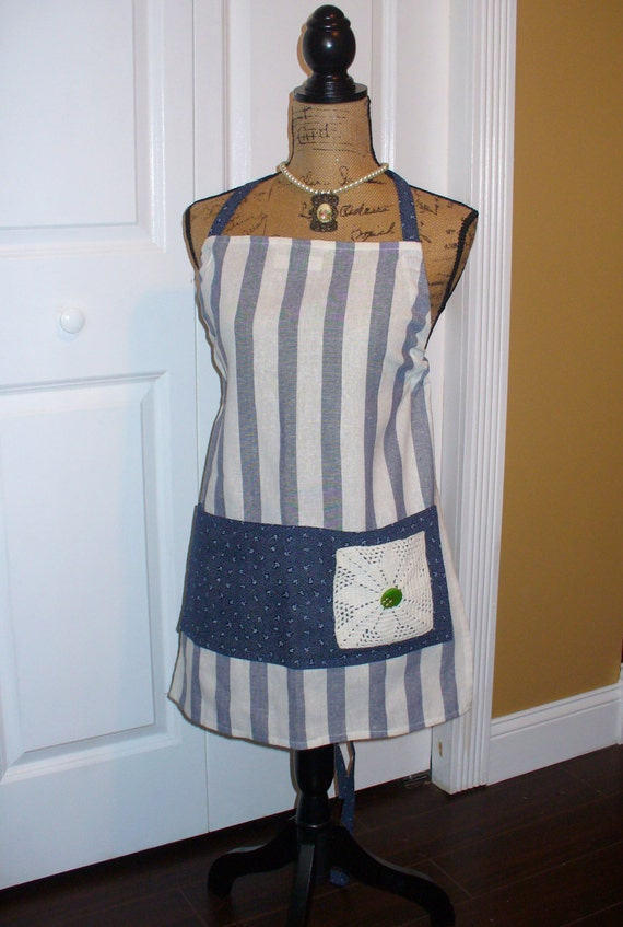 Full Apron, Tea Towel Apron, Vintage Linen Tea Towel Apron, Vintage Button Apron, Blue& White Stripe Apron, Blue Calico Apron, One of a Kind