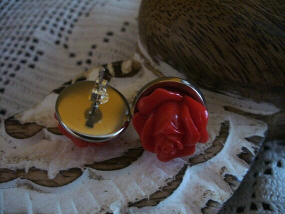 Rose Earrings, Flower Earrings, Silver Plated Earrings, Post Earrings, Stud Earrings, Bridesmaid Gift, Bridesmaid Earrings, MarjorieMae
