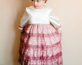 Girls Tutu Dress Blush, Princess Dress, Shabby Chic, Baby Birthday Dress, Baby Christmas Dress, Baby Girl Dress-2-3 years-Mother's Day Sale!