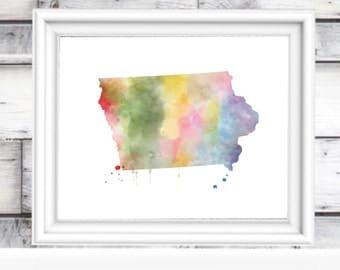 Iowa Watercolor Print   Iowa Wall Art   State Watercolor Art Print   Ia. Wall Decor   State Folk Art   Iowa Map