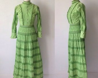 Vintage 70s Green Dress, Prairie Dress, Maxi Dress, Edwardian Dress, Hipster Dress, Boho, Hippie, 70s Costume, Fancy Dress, Size 10