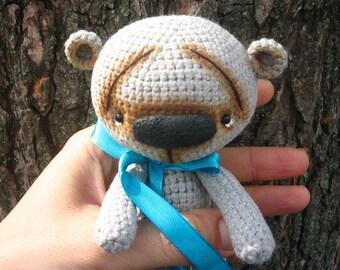 Gray Crochet Teddy Bear