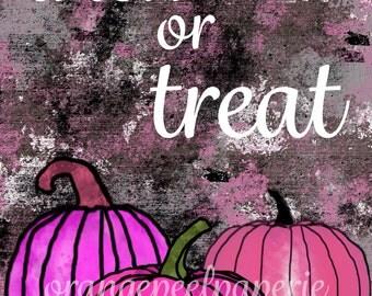 Pink Trick or Treat Halloween Printable