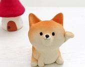 "Shiba Inu figurine of Ceramics ""A maneki-Shiba""  Animal sculpture of Japan"