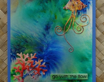 "Hawaii ocean jellyfish greeting card ""go with the flow"" v. 2"