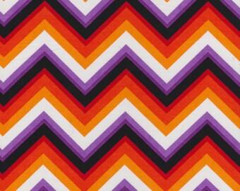 "Fabric ""Charlie Brown on Acid"" in Chevron Zig Zag Print - Orange Purple Black - By the Yard"