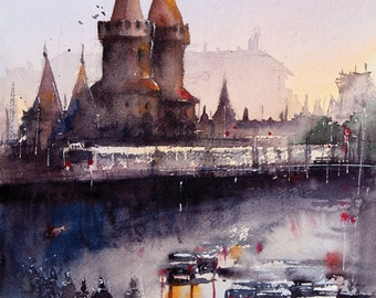 Berlin Kreuzberg original watercolor painting
