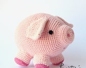The little piggy Javier Bacon, soft toy  (pink pig crochet), amigurumi