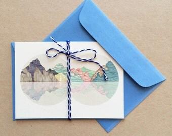 Postcard , mountains reflection-single