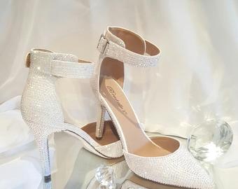 BLING Rhinestone Wedding Shoes, White Rhinestone Heels, Customized Wedding Shoes, Custom Heels White Wedding Bling Pointed Heels Bling Shoes
