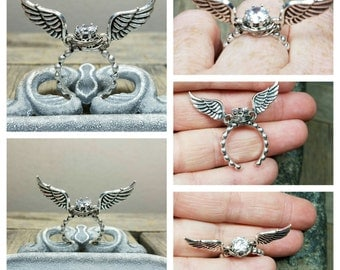 Sterling Silver Zircon Adjustable Ring/Snitch Harry Potter Ring/ Angel Wing Ring/Snitch Silver Ring/Very comfortable