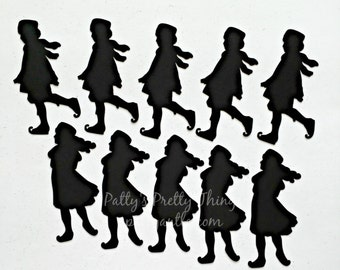 Ice Skaters Die Cuts, Ice Skaters Silhouettes, Christmas Die Cuts, Kids Ice Skaters