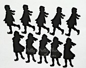Ice Skaters Die Cuts, Ice Skaters Silhouettes, Christmas Die Cuts, Kids Ice Skaters, Winter Ice Skaters